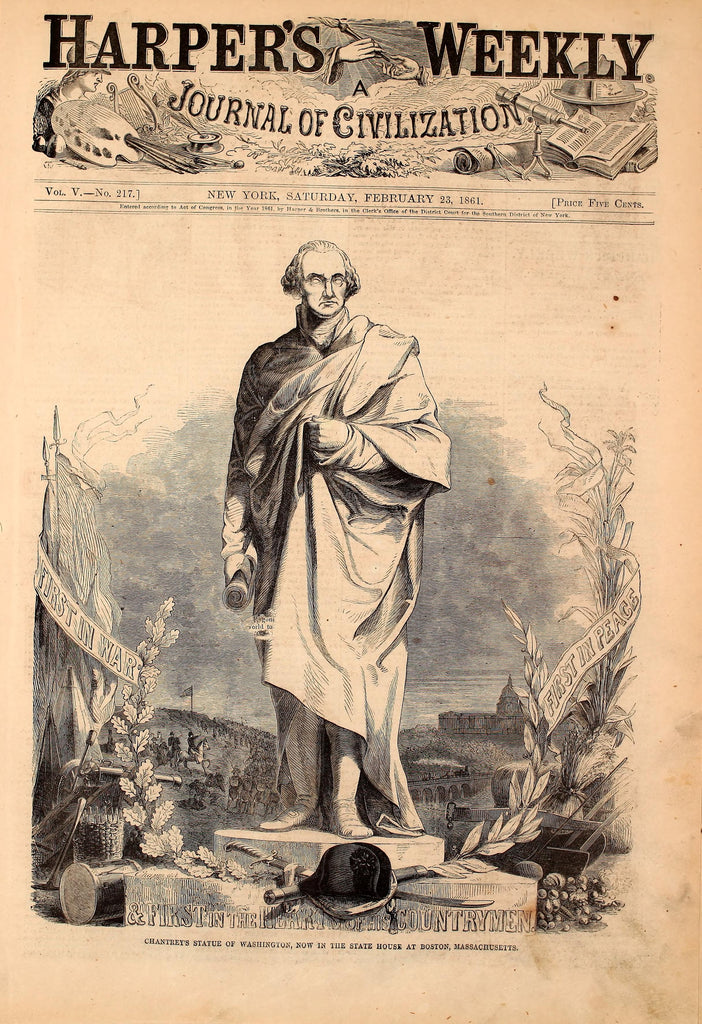 1861 Chantey's Statue Of George Washington Harper's Weekly Print DD