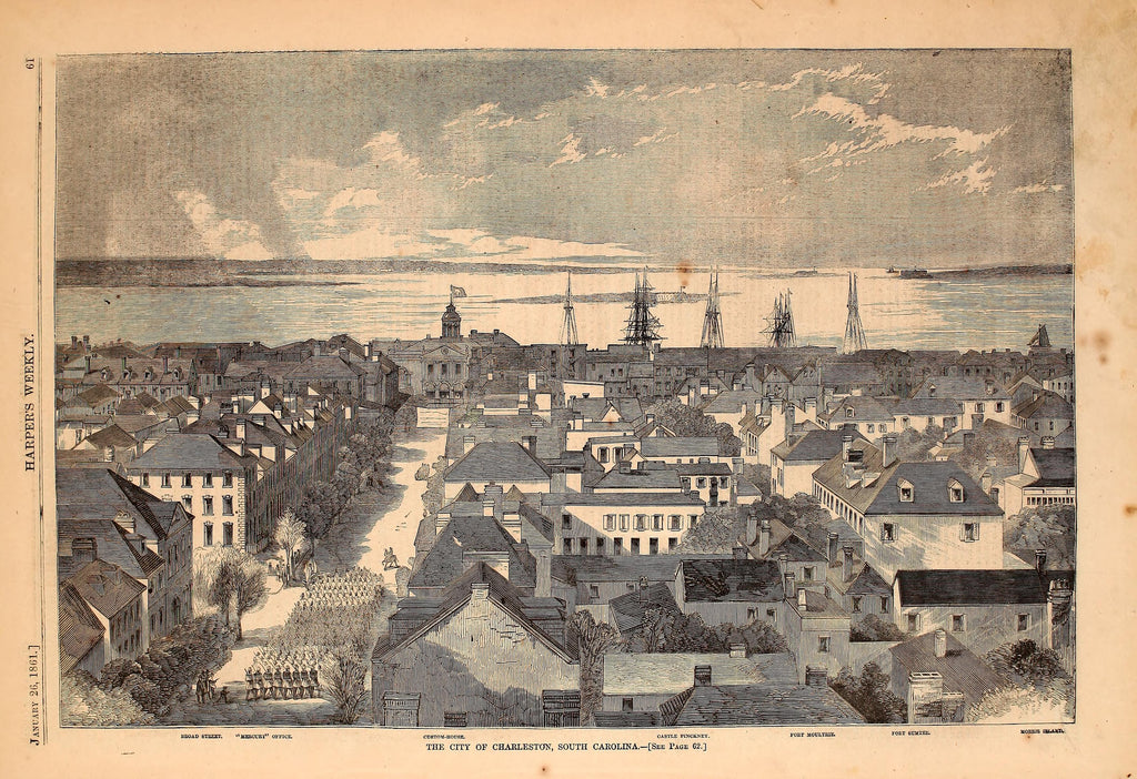1861 City Of Charleston South Carolina Harper's Weekly Print DD