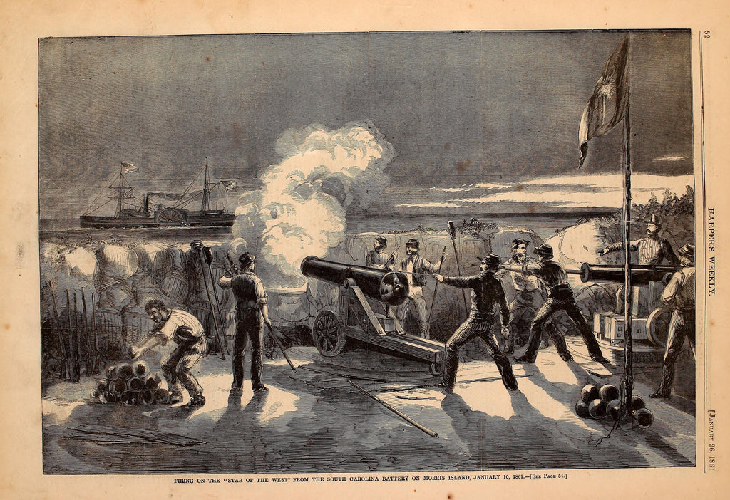 1861 Firing On The Star Of The West From The South Carolina Battery On Morris Island Harper's Weekly Print DD