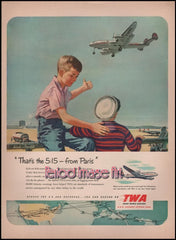 1955 TWA Airline The 5:15 From Paris Aviation Ad DD
