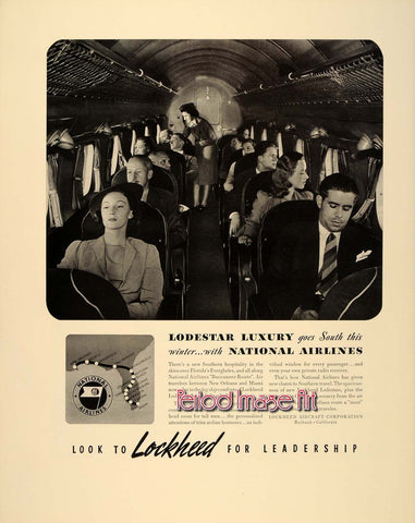 1940 Lockheed Loadstar National Airlines Aviation Ad DD