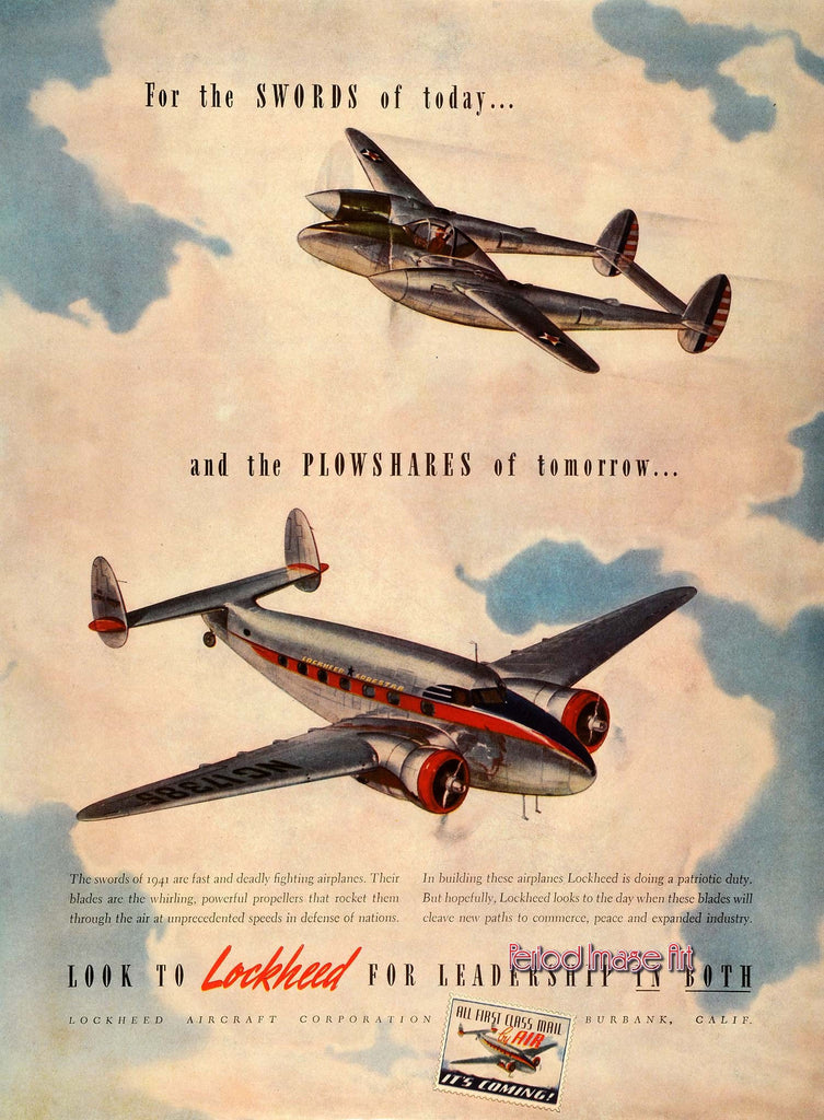 1942 Lockheed Swords & Plowshares Manufacturing Aviation Ad DD