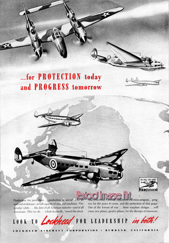 1942 Lockheed RAF Protection & Progress Manufacturing Aviation Ad DD