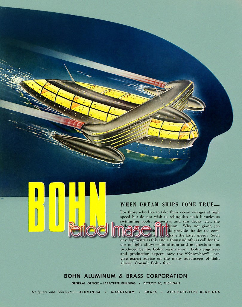 1947 Bohn Aluminum Futuristic Dream Land Air Cruise Ship Ad DD