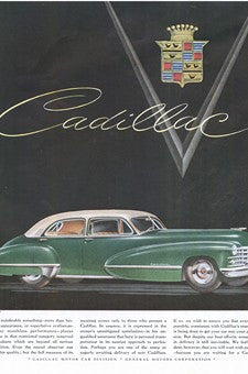 1950 Green Cadillac Automobile Crest & Jewels Ad DD