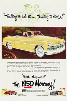 1950 Yellow Mercury Thrilling Automobile Ad DD