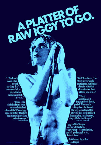 1973 Iggy & The Stooges Raw Power LP 13 x 19 Repro Record Promo Poster