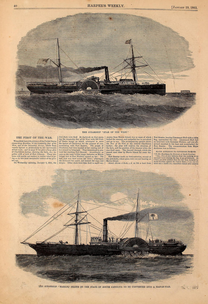 1861 Steamships Marion & Star Of The West Harper's Weekly Print DD