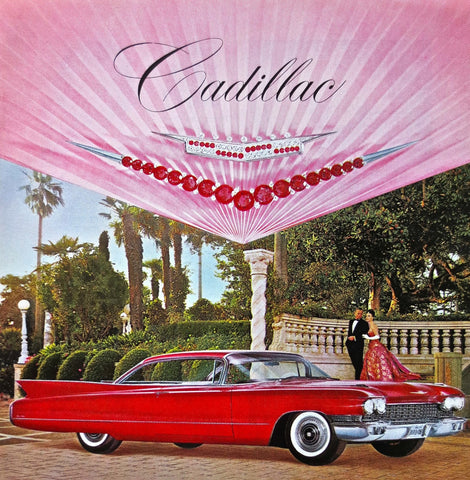 1951 Red Cadillac & Crest Automobile Ad DD