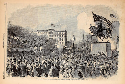1861 New York City Union Square Meeting Supporting The Government Harper's Weekly Print DD