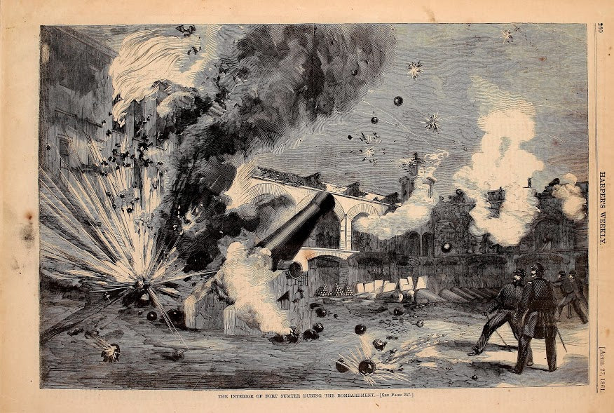 1861 The Interior Of Fort Sumter During The Bombardment Harper's Weekly Print DD