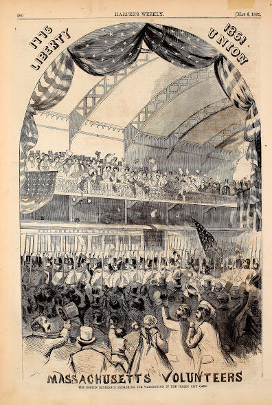 1861 Boston Regiments Embarking For Washington In Jersey City Train Cars Harper's Weekly Print DD