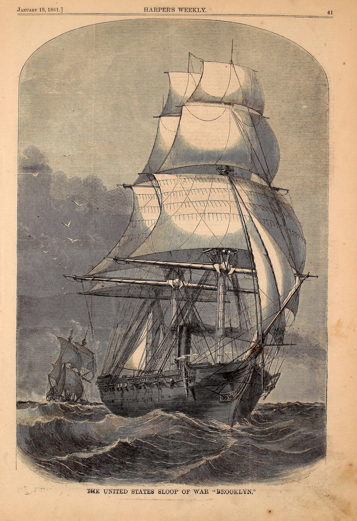 1861 The United States Sloop Of War Ship Harper's Weekly Print DD