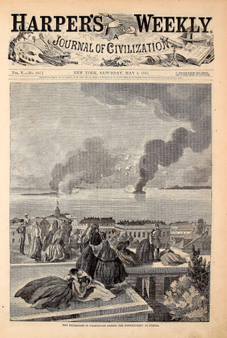 1861 House Tops Of Charleston During Battle At Sumter Harper's Weekly Print DD