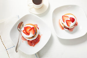 Gluten Free Chocolate Chip Biscuits with Whipped Cream and Strawberries and Coffee
