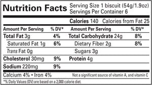 Gluten Free Plain Delicious Biscuit Nutrition Info