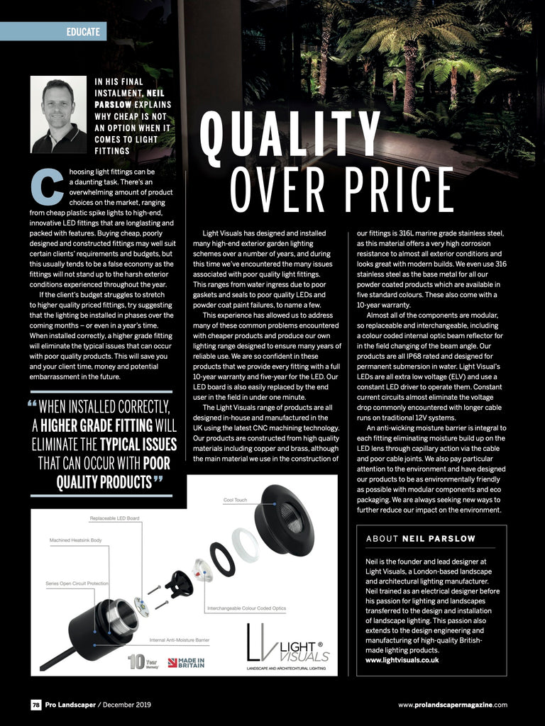 Pro landscaper magazine December 2019 Neil Parslow Quality Over Price - Light Visuals Garden Landscape and Architectural Lighting