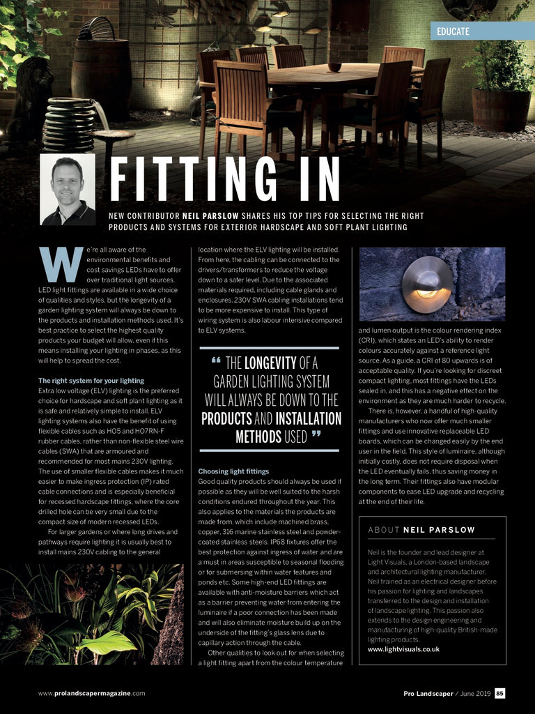 Pro landscaper magazine June 2019 - Neil Parslow - soft plant and hardscape lighting - Light Visuals