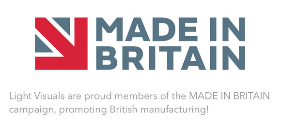 The Made In Britain Logo. Light Visuals are proud members of the Made In Britain campaign, promoting British manufacturing
