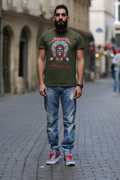 T SHIRT JMENFOU GREEN INDIAN SKULL.