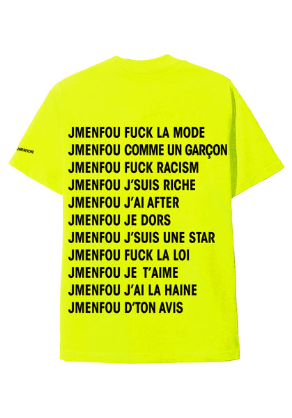 T SHIRT JMENFOU JMENFICHE RIGHT THINKS YELLOW FONT