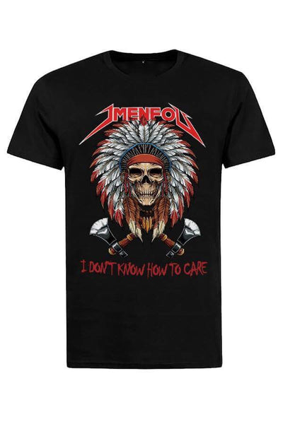 T SHIRT JMENFOU BLACK INDIAN SKULL red font