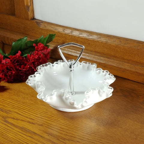 Vintage Silver Crest Ruffle Edge Milk Glass Handled Tidbit Dish - Attic and Barn Treasures