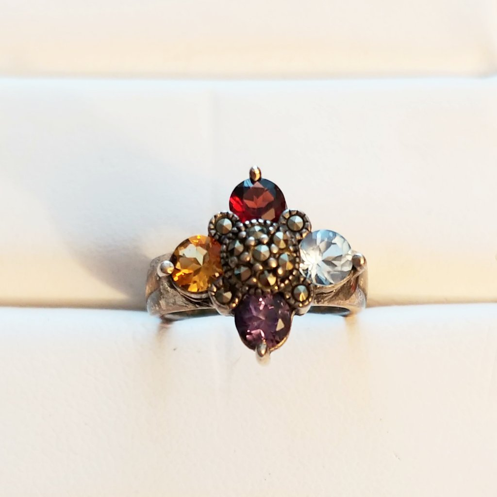 Vintage Multi Gem Silver Ring Size 6 - Attic and Barn Treasures
