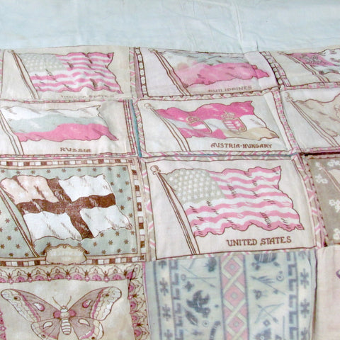 Antique Tobacco Premium Flags and Feed Sack Quilt Top - Attic and Barn Treasures