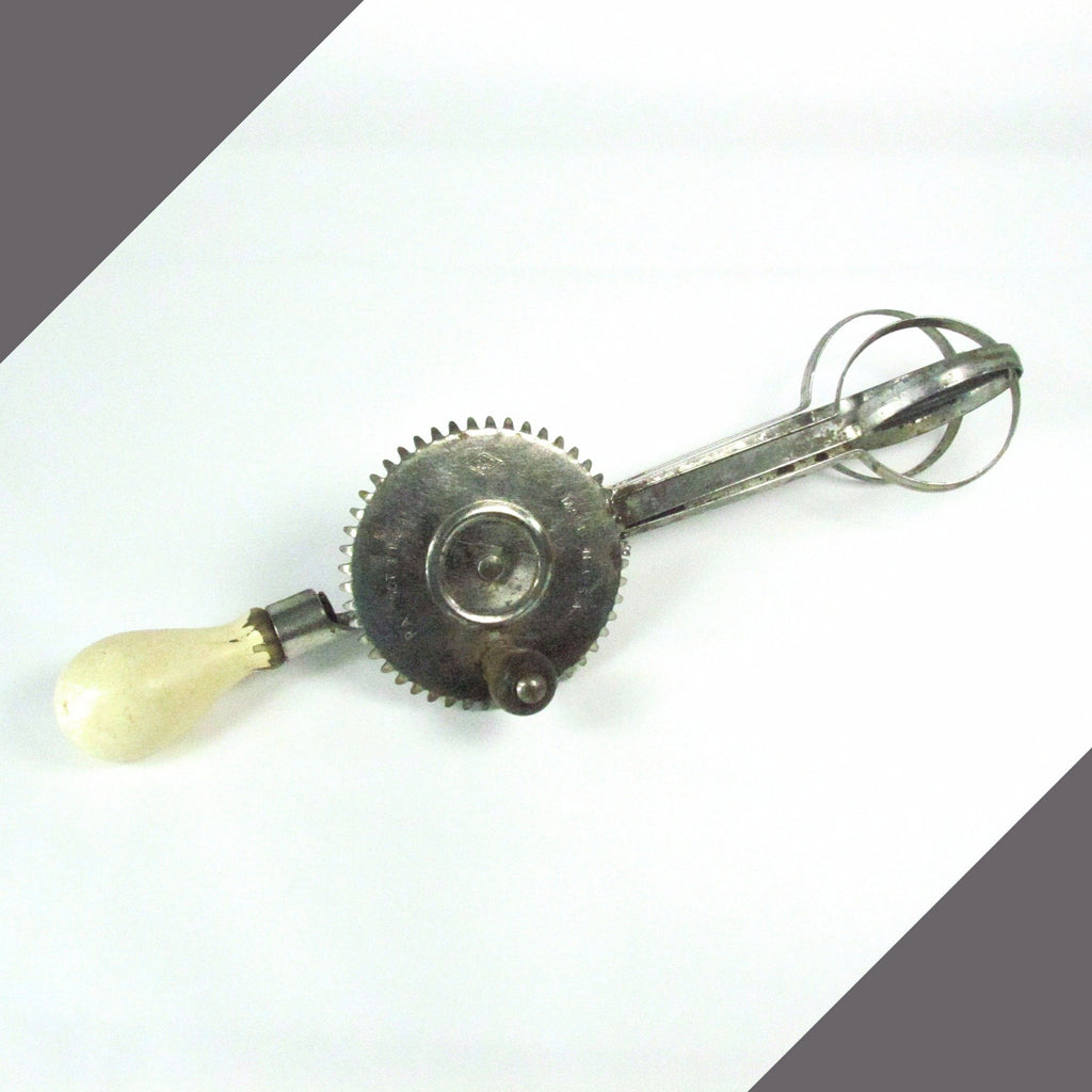 Vintage A & J Egg Beaters with White Knob Handle Patent 1923 - Attic and Barn Treasures