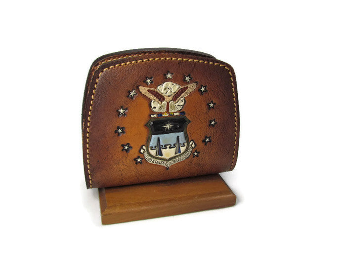 Vintage Leather Air Force Academy Napkin or Mail Holder - Attic and Barn Treasures