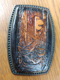 Vintage Brass and Leather Bass Fishing Angler Belt Buckle - Attic and Barn Treasures
