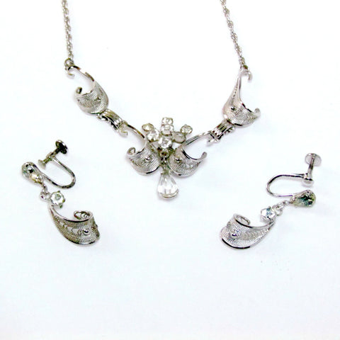 Vintage AmLee Filigree Sterling Silver Necklace with Matching Earrings c. 1950s - Attic and Barn Treasures