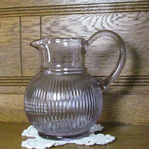 Vintage Clear Amethyst Ribbed Pitcher - Attic and Barn Treasures