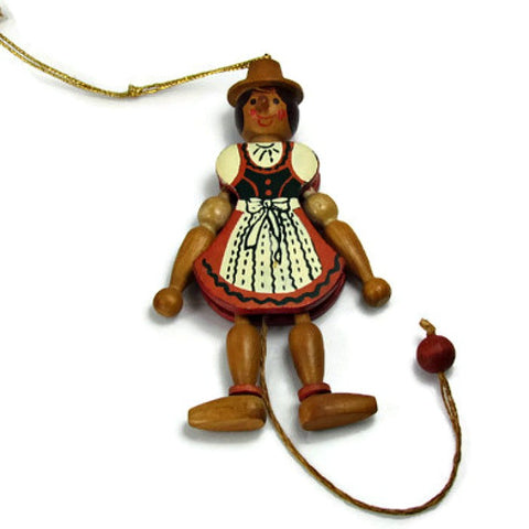 Vintage Wooden Pull String Dancing Puppet Doll Austria - Attic and Barn Treasures