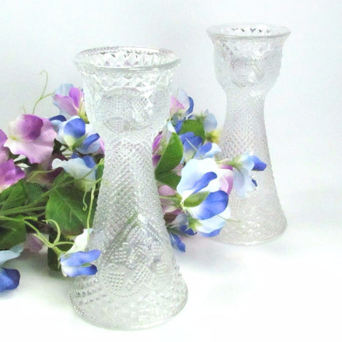 Vintage 1979 Fostoria Clear Glass Candle Holder Vase Combo Pair - Attic and Barn Treasures