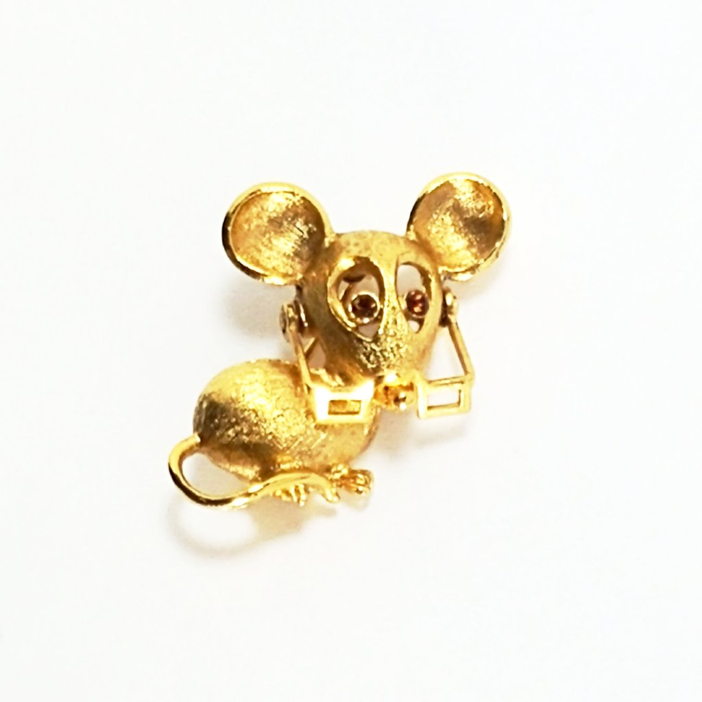 Vintage Mouse Brooch with Glasses Avon Collectible 1970's - Attic and Barn Treasures