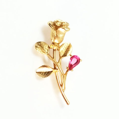 Vintage Gold Tone Rose Brooch with Pink Stone by Avon c. 1970's