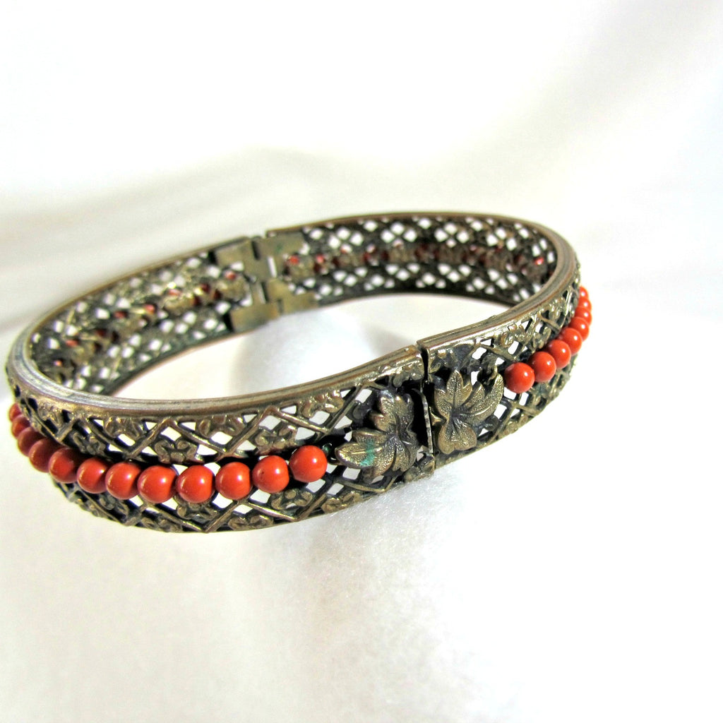 Vintage Hinged Filigree Brass and Coral Bead Bracelet - Attic and Barn Treasures