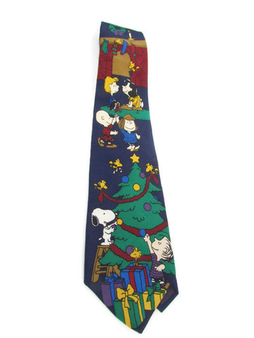 Vintage Charlie Brown Christmas Tree Silk Necktie - Attic and Barn Treasures