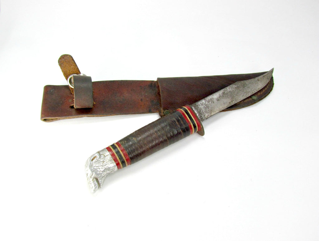Vintage Craftsman Bear Head Knife with Original Leather Sheath - Attic and Barn Treasures
