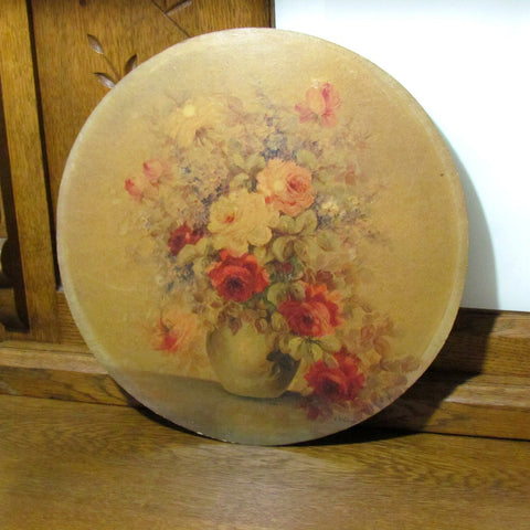 Vintage Round Rose in Vase Still Art M. DeCamp c. 1950