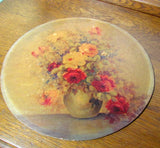Vintage Round Rose in Vase Still Art M. DeCamp c. 1950 - Attic and Barn Treasures