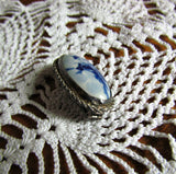 Stunning Vintage Hand Painted Delft Porcelain Brooch - Attic and Barn Treasures