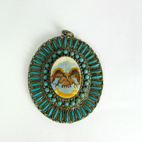 Vintage Petit Point Pendant with Hand Painted Eagle Cabochon Native American Design - Attic and Barn Treasures