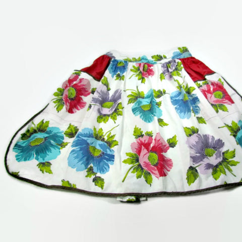 Vintage Floral Two Pocket Half Apron - Attic and Barn Treasures