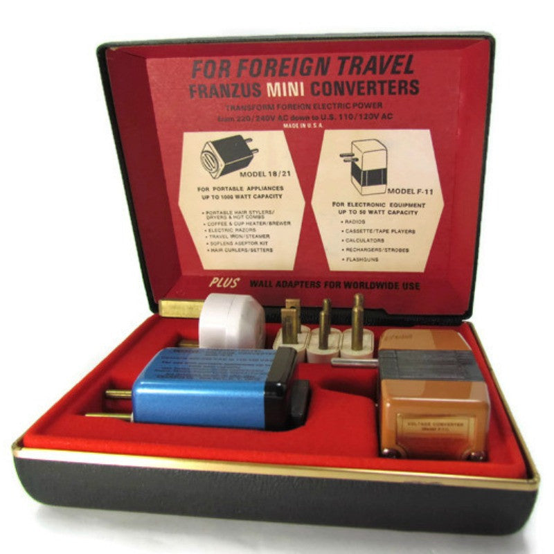 Vintage Travel Voltage Converter Kit Franzus TK 7 - Attic and Barn Treasures