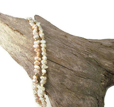 Vintage Double Strand Pearl Bracelet 14K Gold Clasp c. 1950s - Attic and Barn Treasures