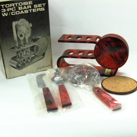 Vintage Georges Briard Tortoise Bar Set with Drink Coasters - Attic and Barn Treasures