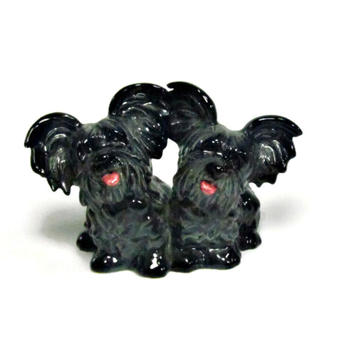 Vintage Goebel W. Germany Skye Terrier Figurine Black and Gray Twins
